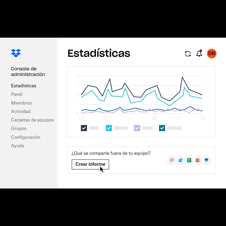 El administrador crea un informe en el panel de estadísticas de DropboxBusiness para personas ajenas al equipo