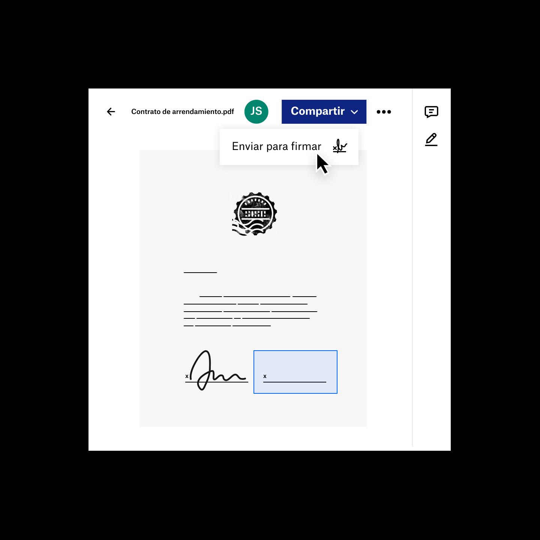 Un usuario comparte un archivo PDF en Dropbox para obtener una firma electrónica
