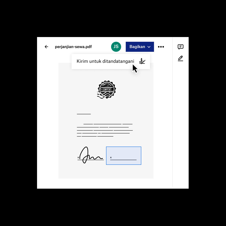 Seorang pengguna membagikan file pdf untuk tanda tangan elektronik di Dropbox