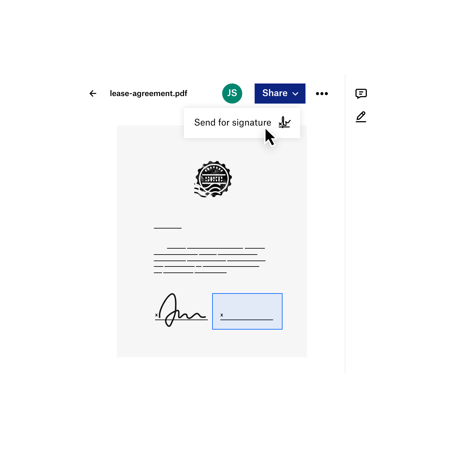 A user shares a pdf for an electronic signature within Dropbox