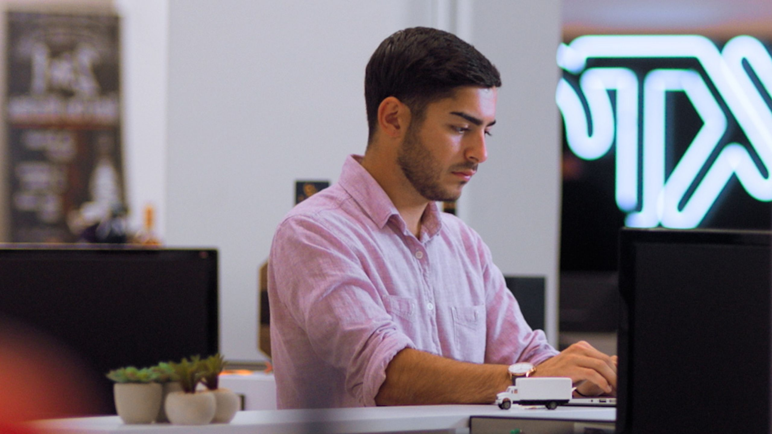 A person sitting at a desk