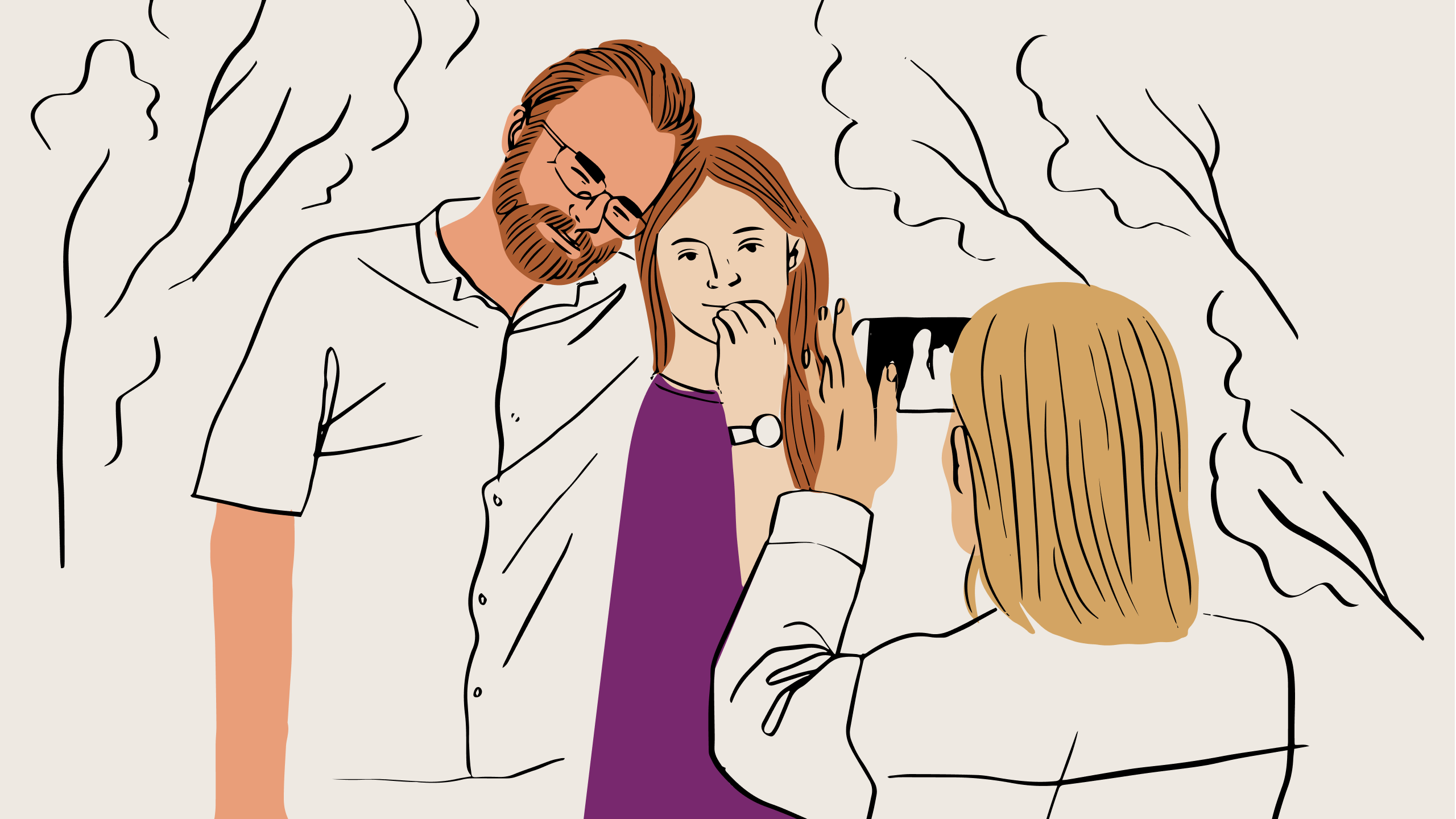 An illustration of a person taking a photo of a couple using a mobile phone