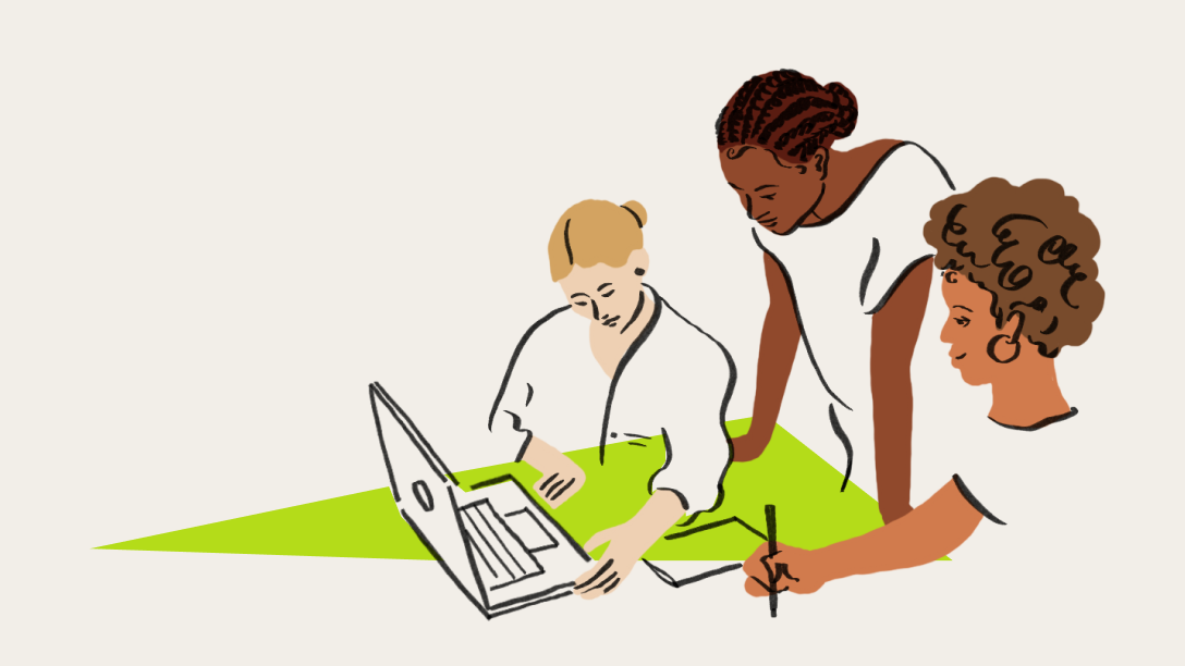 An illustration of a three people at a table gathered around a laptop