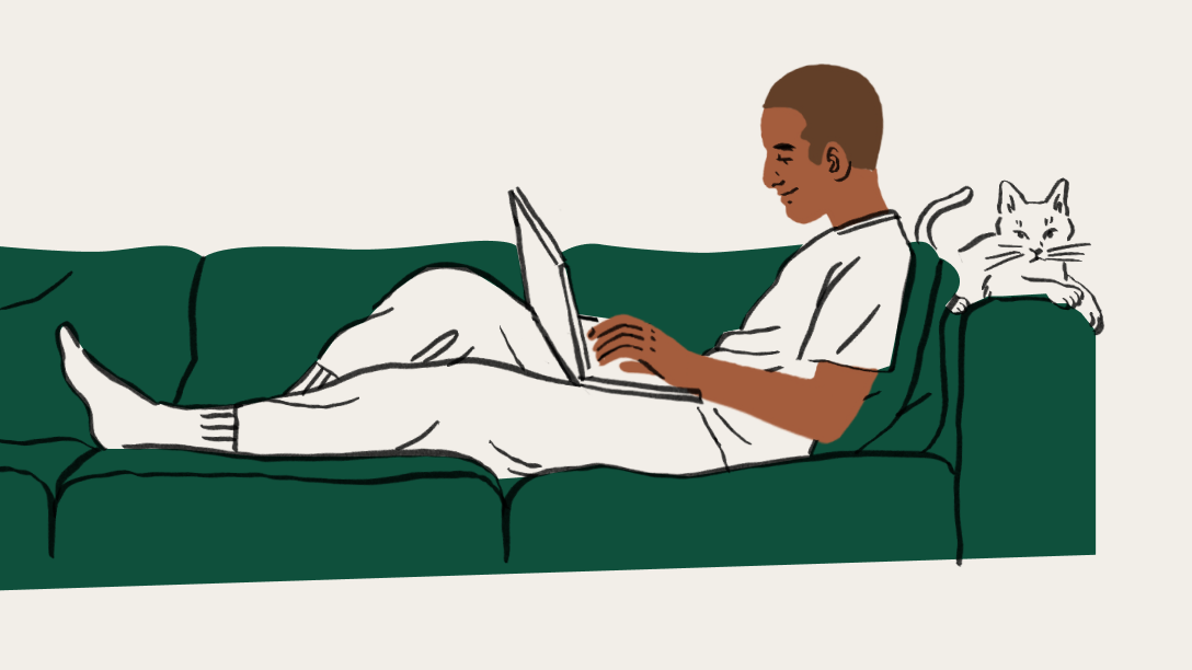 An illustration of a person sitting on a couch with a laptop and a cat
