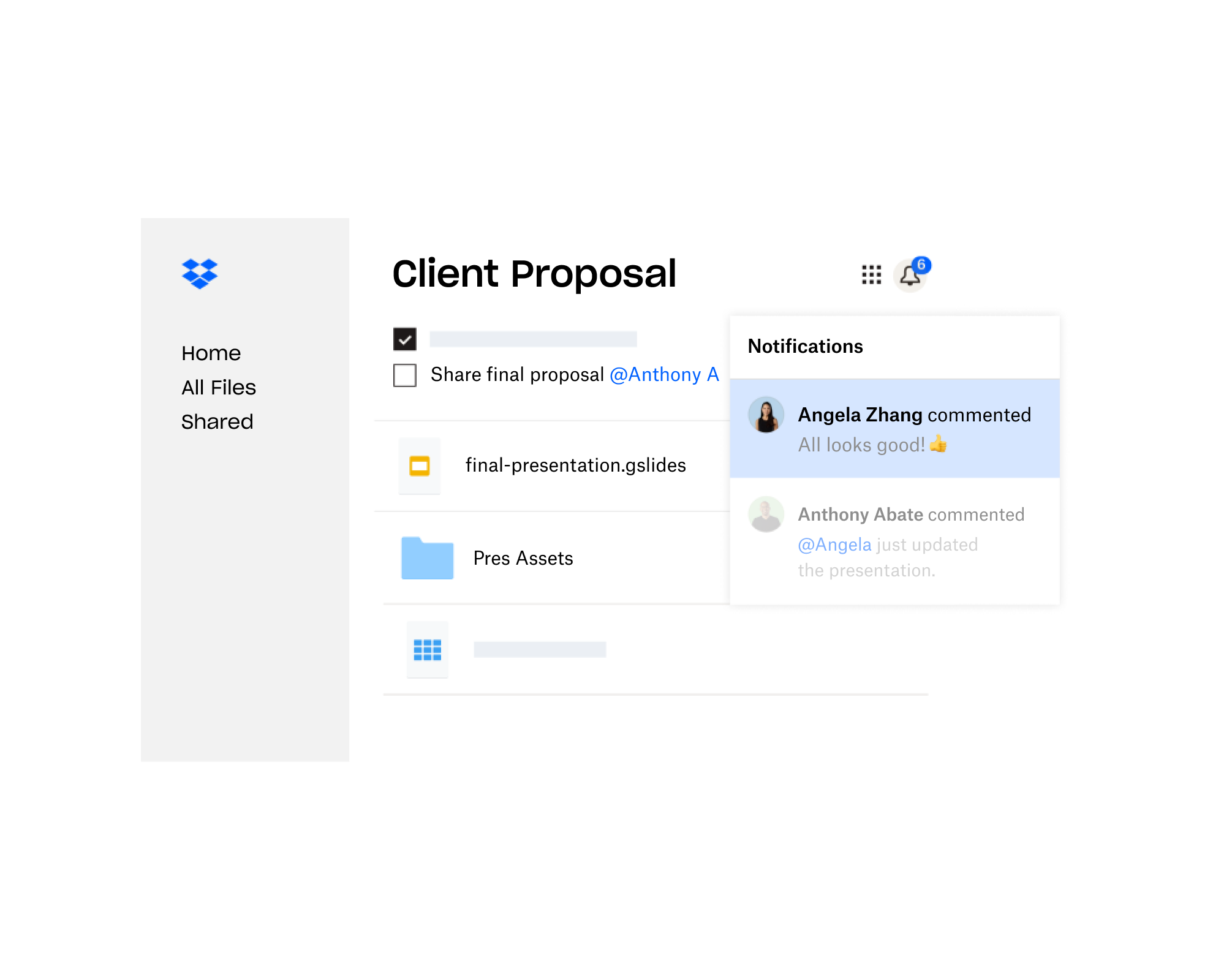 A client proposal created in Dropbox is shared with multiple users who have left feedback
