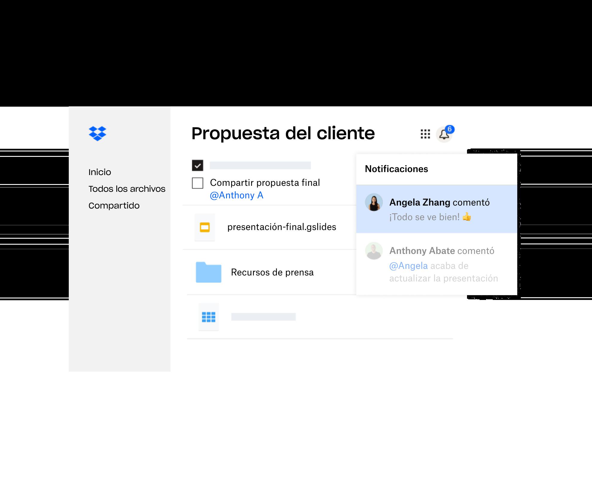 Una propuesta de cliente creada en Dropbox se comparte con múltiples usuarios que han dejado comentarios