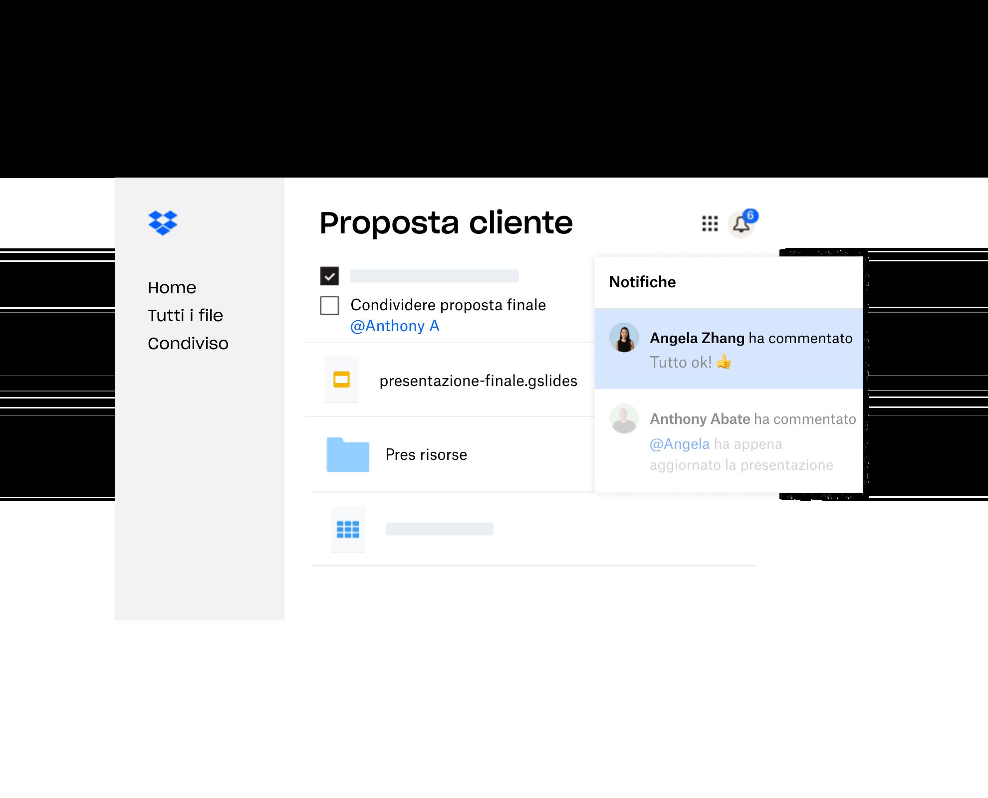 Una proposta per un cliente creata in Dropbox è stata condivisa con diversi utenti che hanno lasciato un feedback