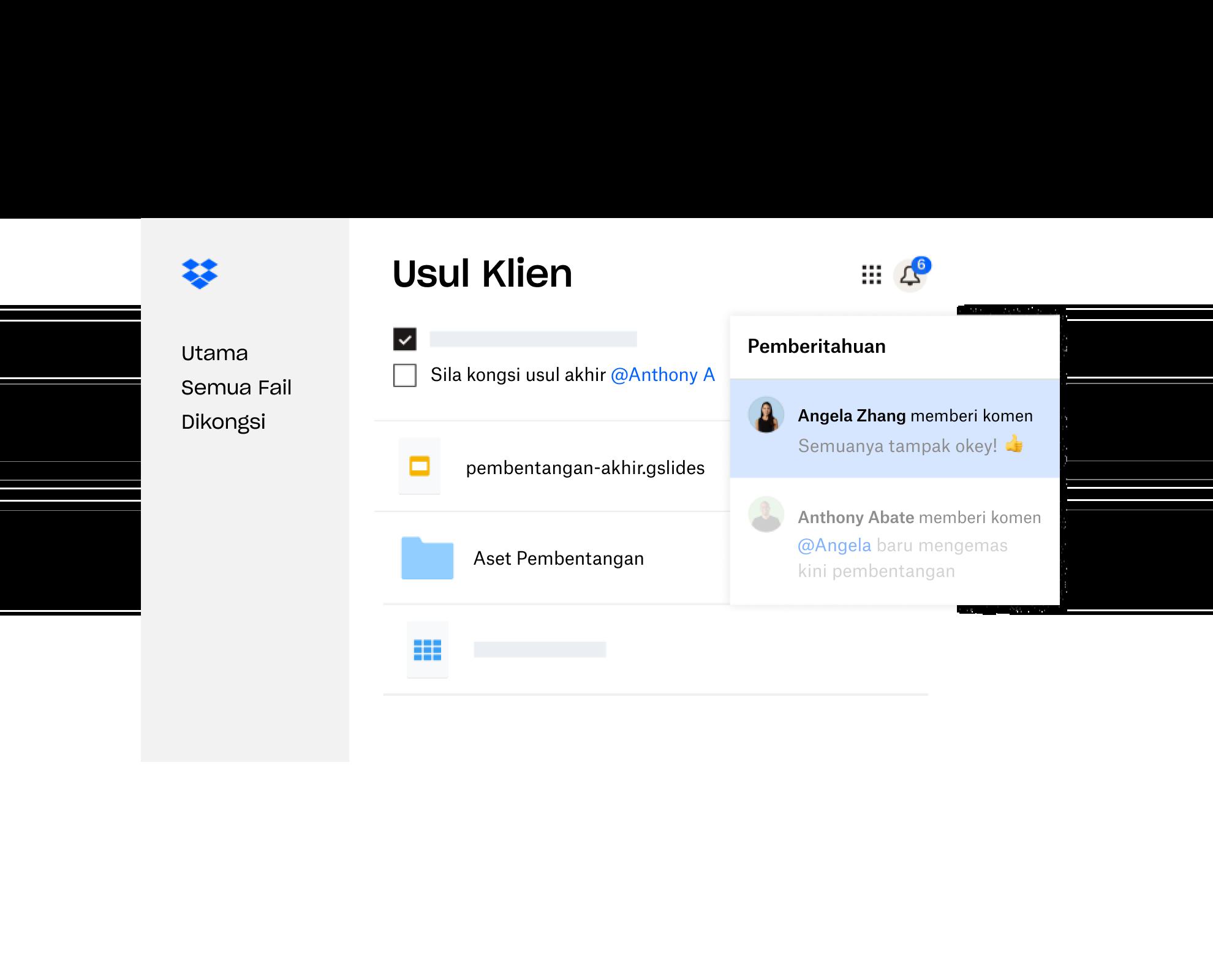 Usul klien yang dicipta dalam Dropbox dikongsi dengan berbilang pengguna yang memberikan maklum balas