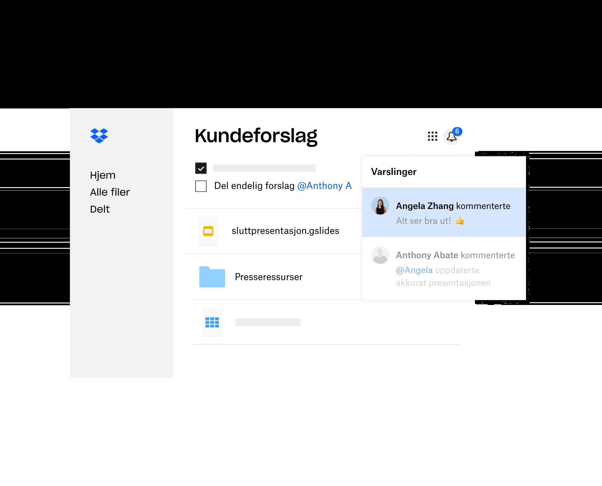 Et kundeforslag laget i Dropbox blir delt med flere brukere som har gitt tilbakemeldinger