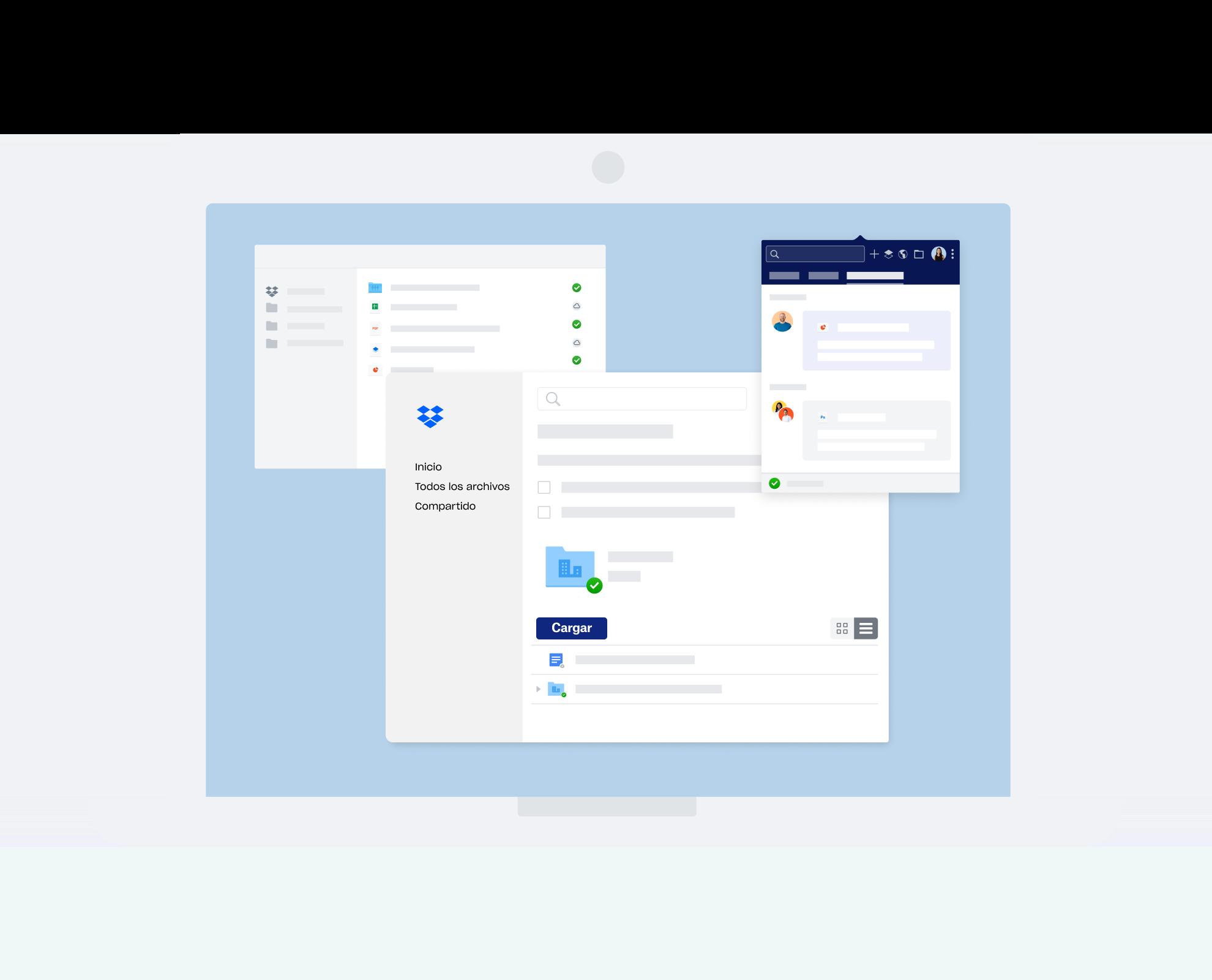Diferentes interfaces de Dropbox para la comunicación y la colaboración