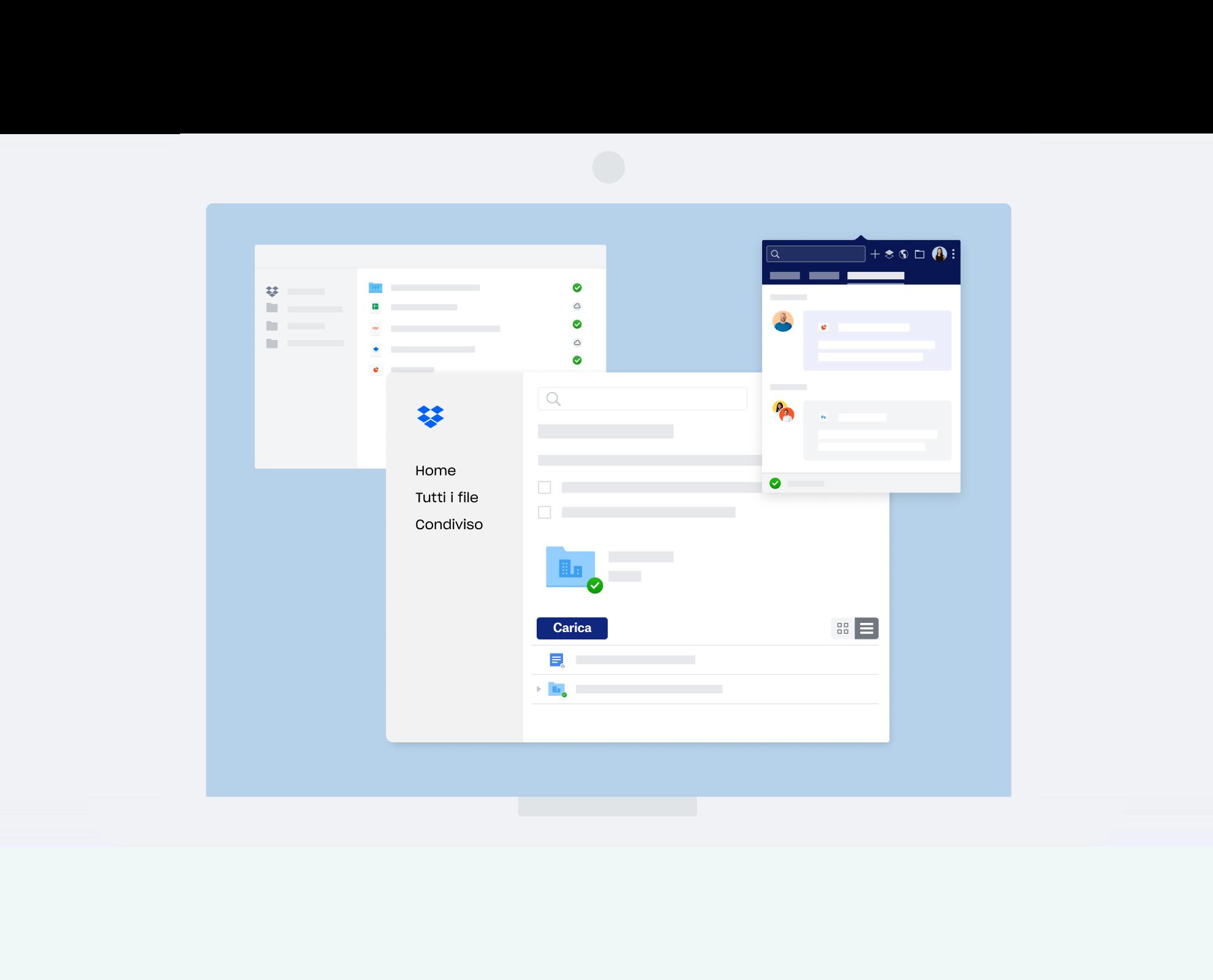 Varie interfacce Dropbox per la comunicazione e la collaborazione