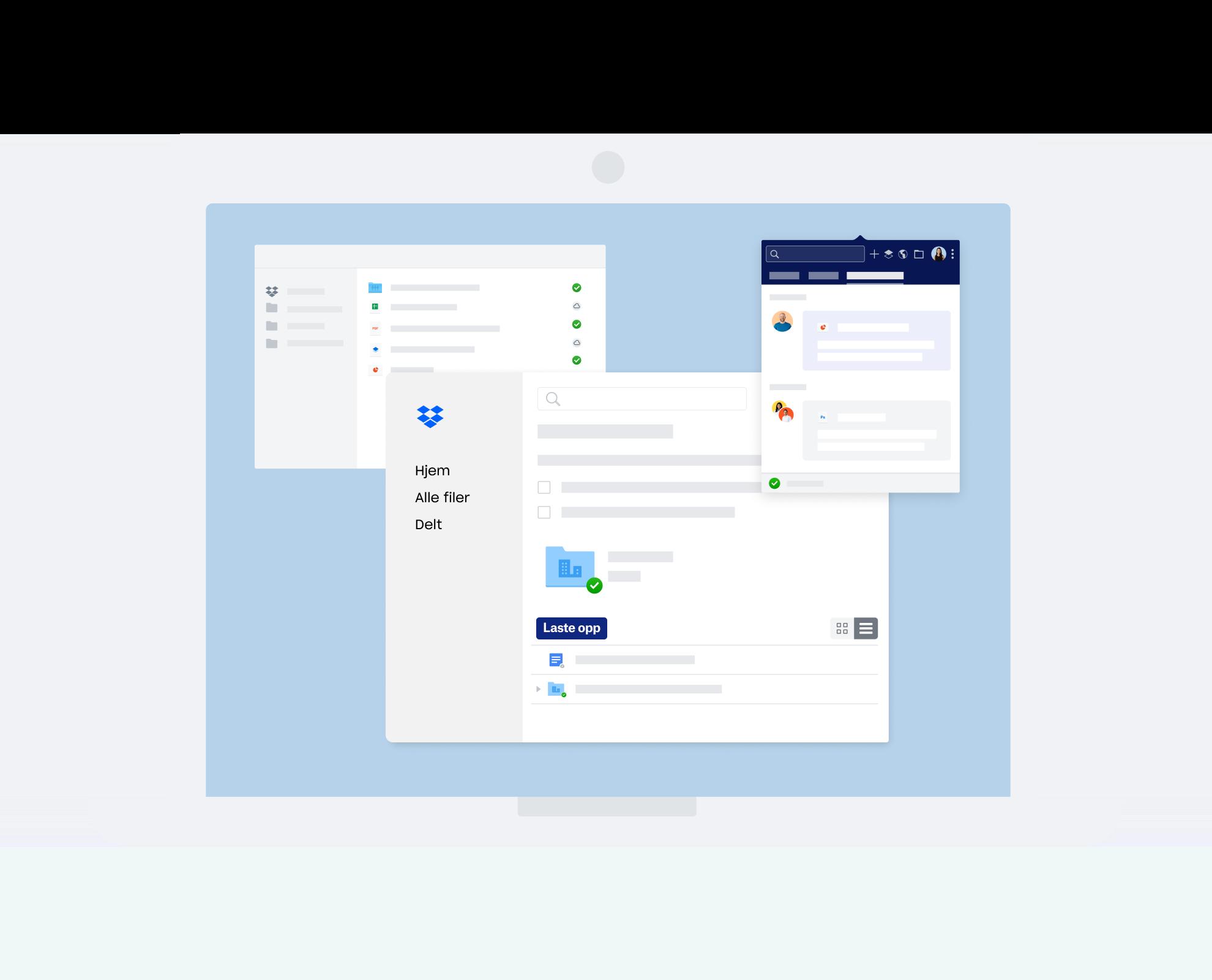 Ulike Dropbox-grensesnitt for kommunikasjon og samarbeid
