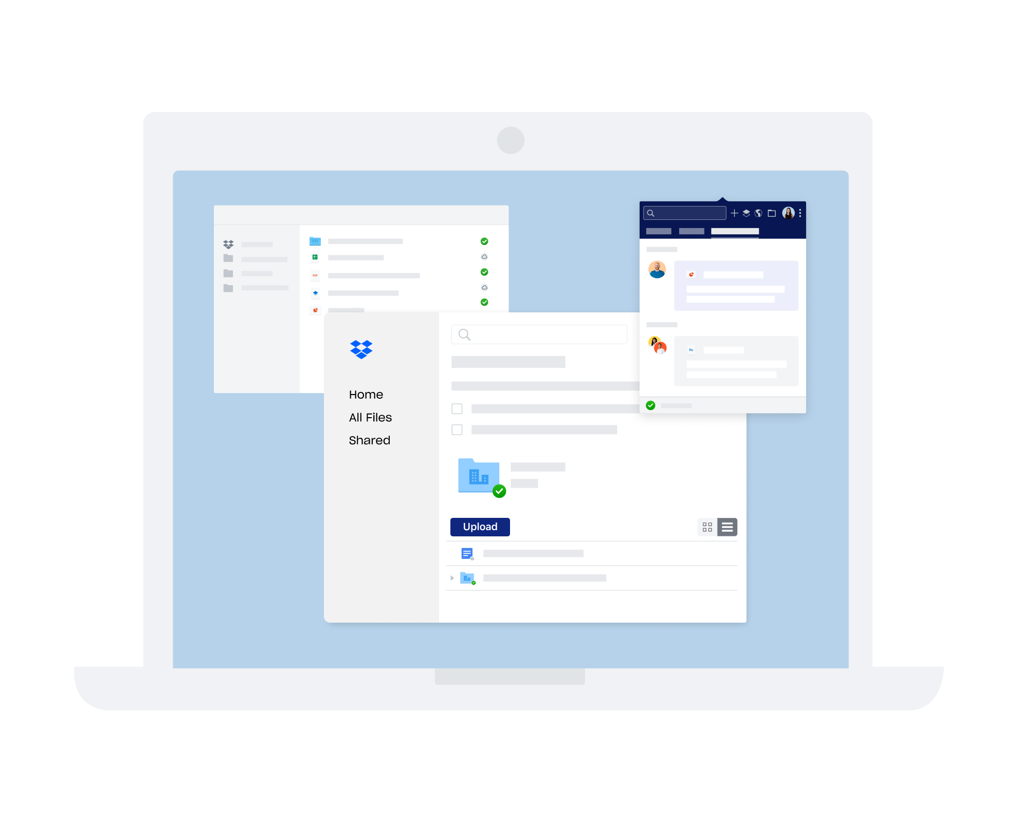 Various Dropbox interfaces for communication and collaboration