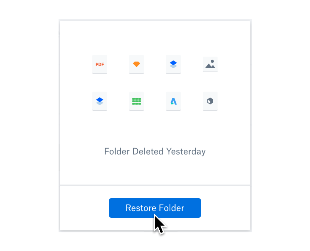 User selecting the restore folder button to recover deleted files.