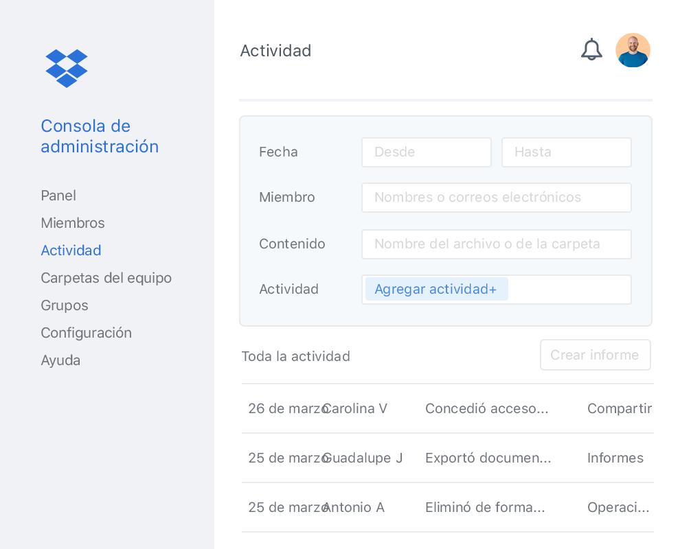La consola de administración de Dropbox con una lista de ejemplo de la actividad de los colaboradores en un equipo de Dropbox.