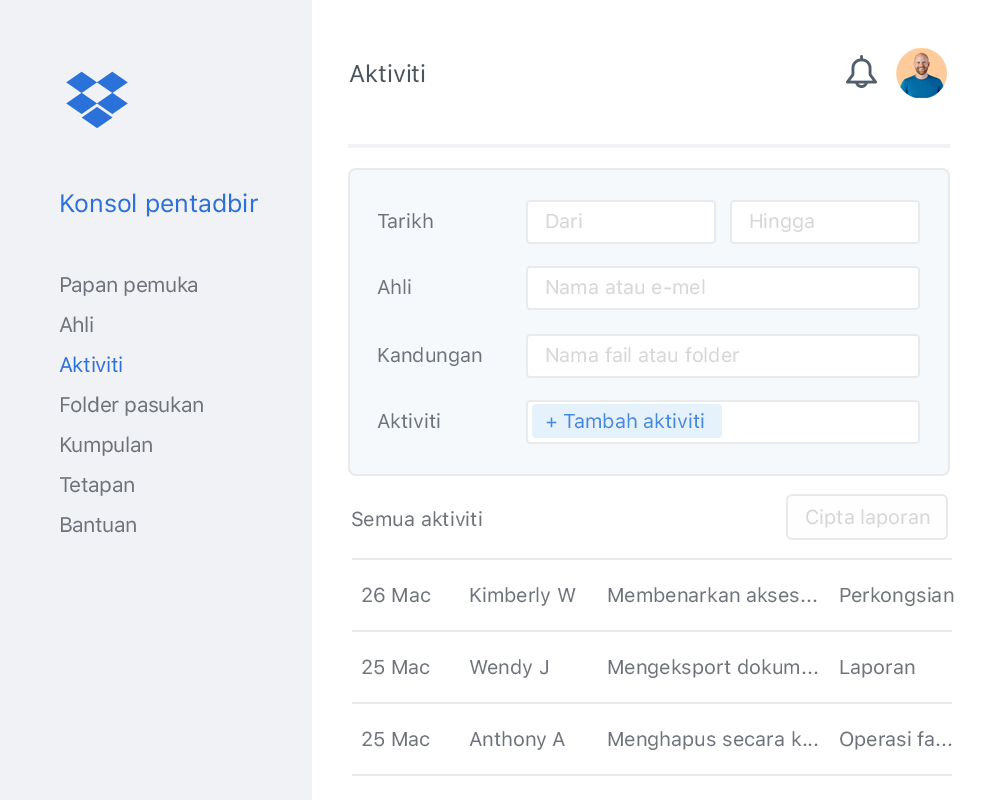 Konsol pentadbir Dropbox dengan senarai aktiviti kolaborator contoh dalam pasukan Dropbox.