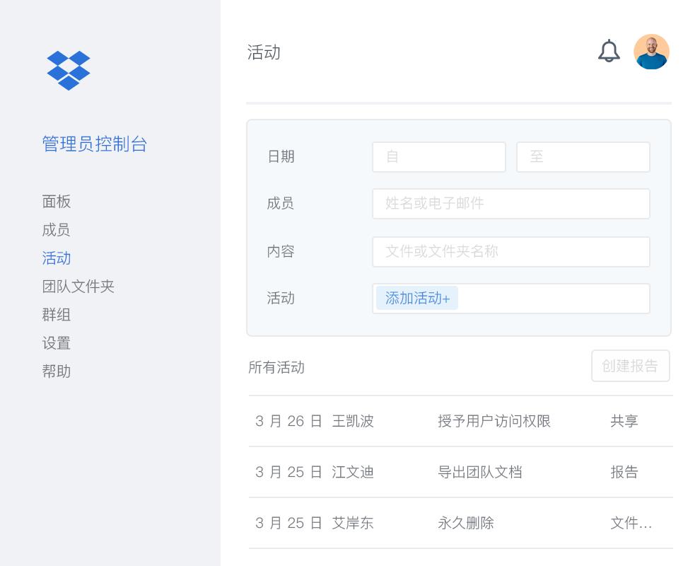 Dropbox 管理员控制台,其中包含 Dropbox 团队中协作者活动的示例列表。