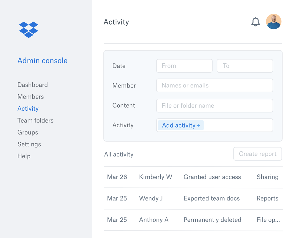 The Dropbox admin console with an example list of collaborator activity within a Dropbox team.