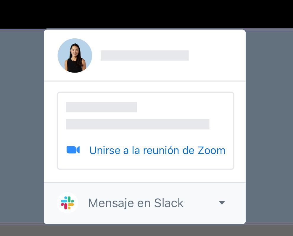 Un perfil de usuario de Dropbox con opciones integradas para unirse a una reunión de Zoom o mensaje en Slack.