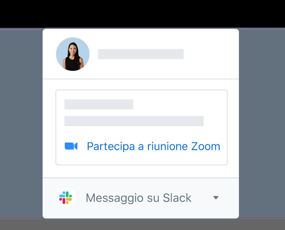 Profilo di un utente Dropbox con opzioni integrate per partecipare a una riunione di Zoom o alla messaggistica di Slack.