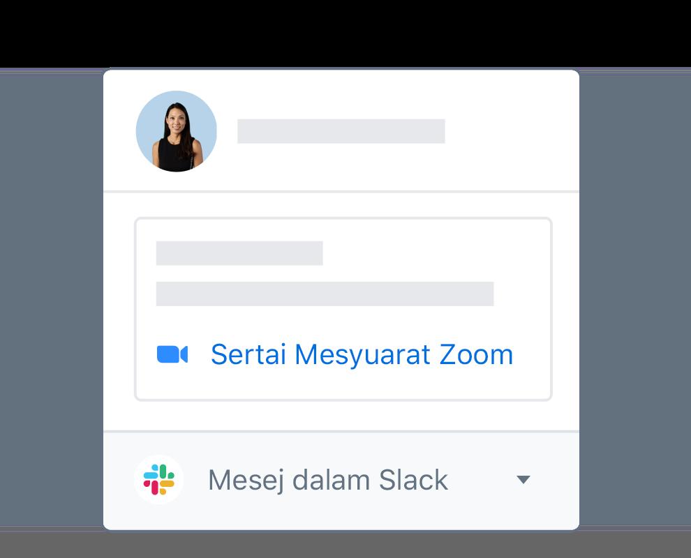 Profil pengguna Dropbox dengan pilihan bersepadu untuk menyertai mesyuarat Zoom atau mesej di Slack.