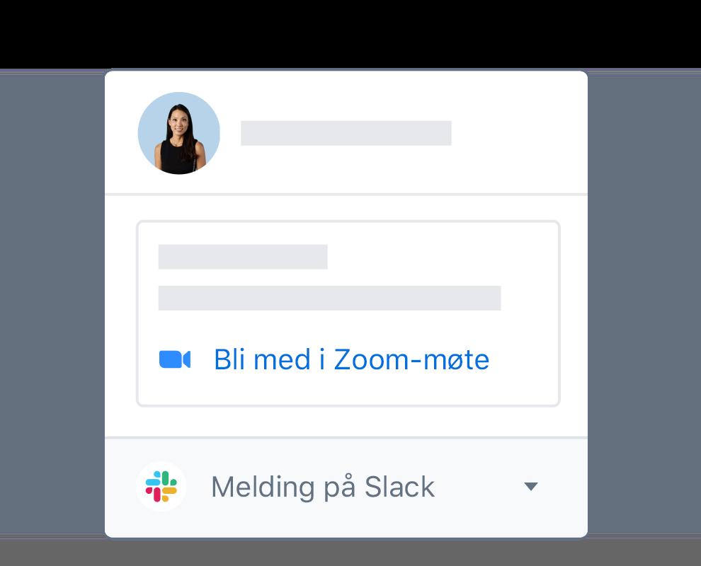 En Dropbox-brukerprofil med integrerte alternativer for å bli med på Zoom-møte eller sende Slack-melding.