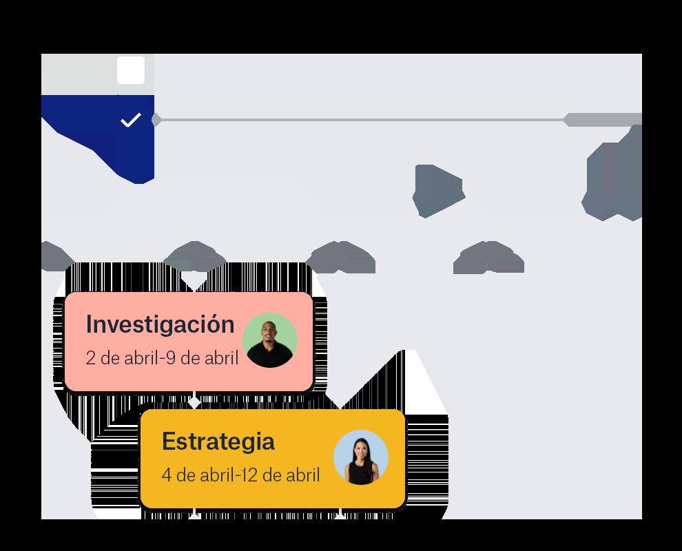 Característica de línea de tiempo de Dropbox con iconos de colaboradores y fechas.