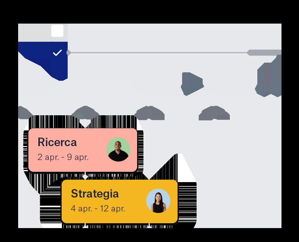 Cronologia di Dropbox con icone collaboratore e date.