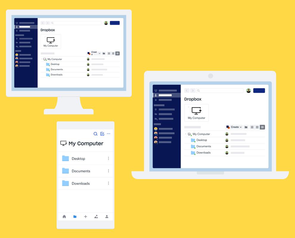 Startpagina van een Dropbox-account op een desktop, laptop en mobiel apparaat