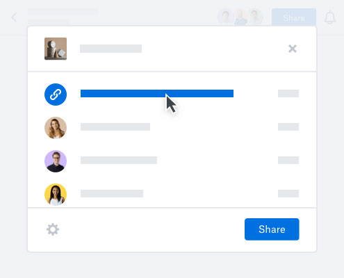 User creating a link to a file to share online