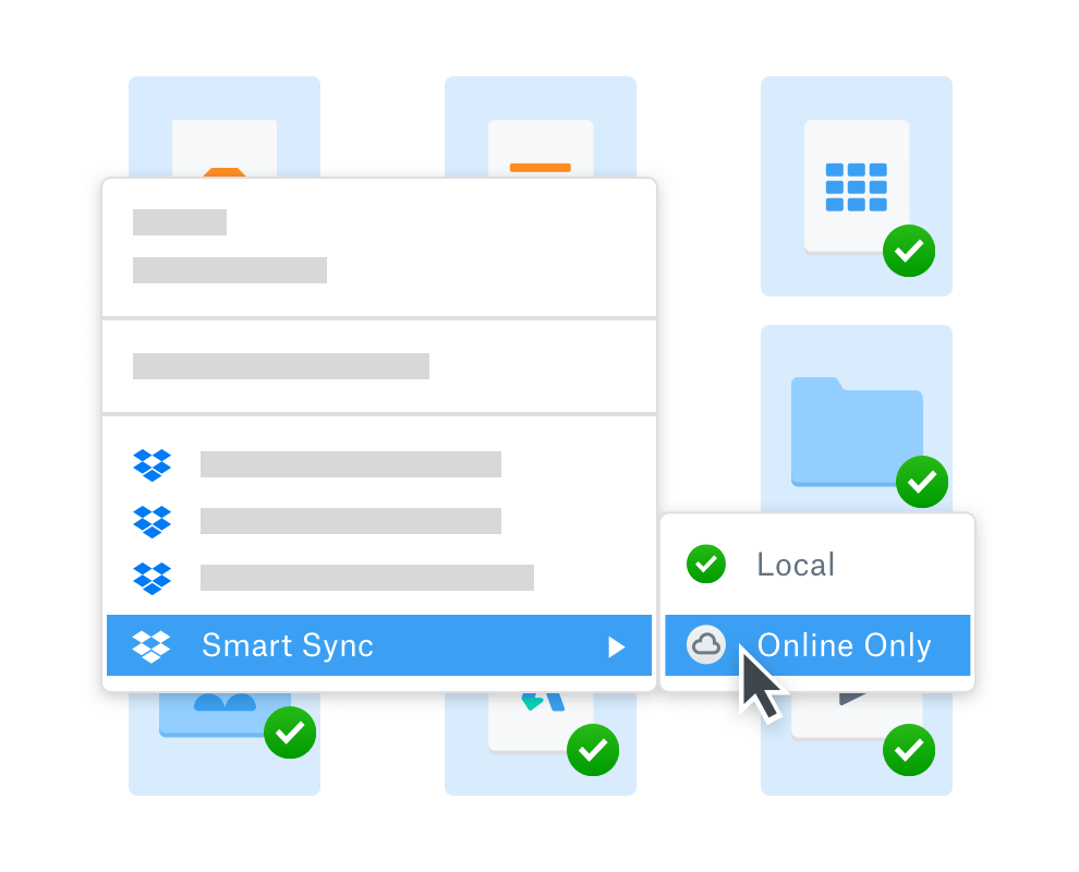 User selecting online folder access using Dropbox SmartSync to save space