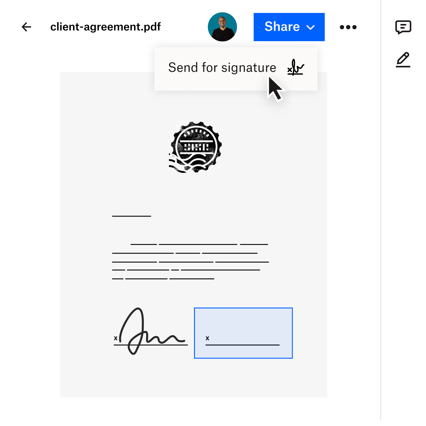 Image of a document being securely transferred to a client using Dropbox Transfer