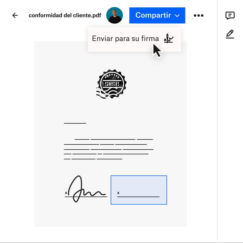 Imagen de un documento que se transfiere de forma segura a un cliente mediante Dropbox Transfer