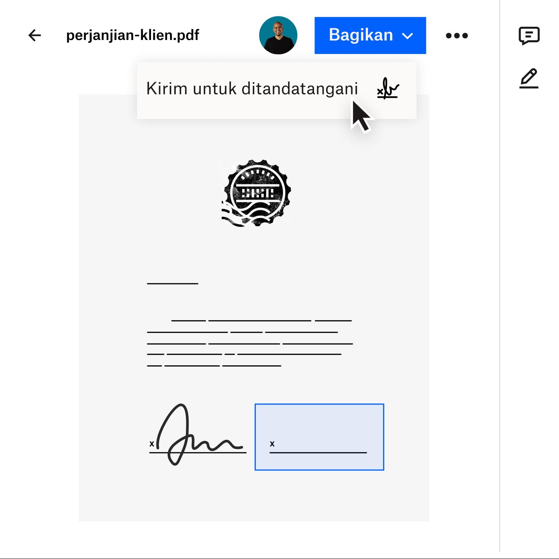 Gambar dokumen yang sedang ditransfer dengan aman kepada klien menggunakan Dropbox Transfer