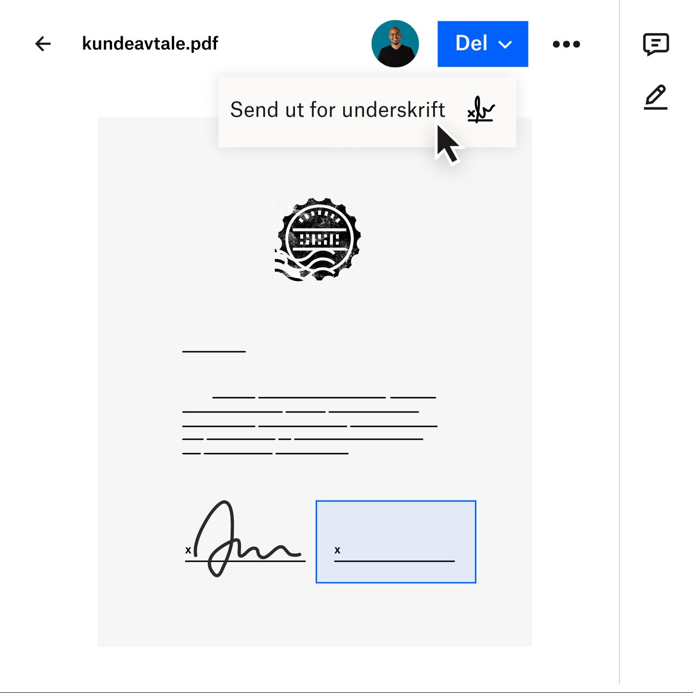 Bilde av et dokument som overføres sikkert til en kunde med Dropbox Transfer