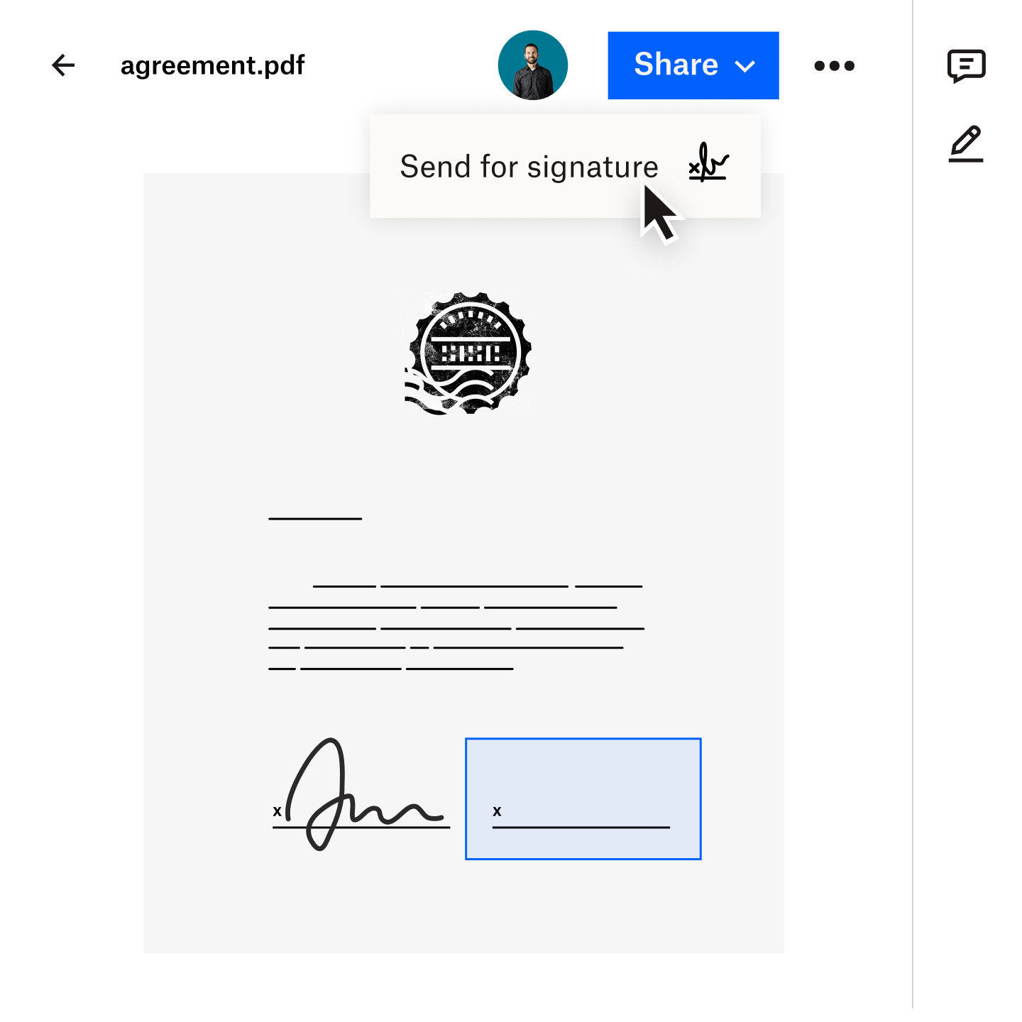 An agreement saved in Dropbox is easily sent for a legally binding eSignature