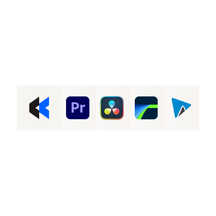 Icons of other video editing software including Adobe Premiere Pro