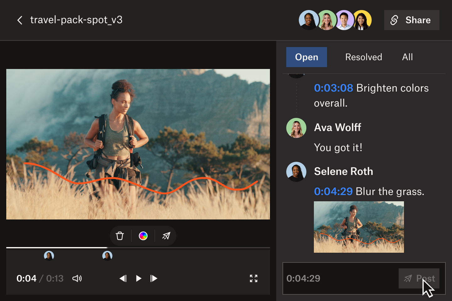 A user drawing on a frame of a video in the Replay interface