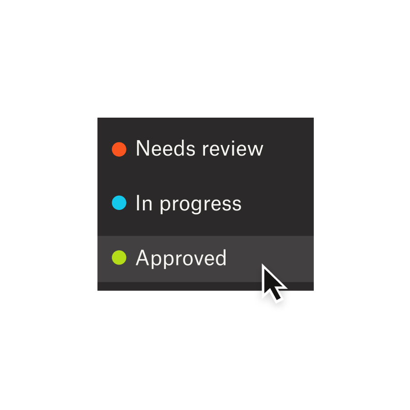 """A user clicking on the """"Approved"""" option in a dropdown menu"""