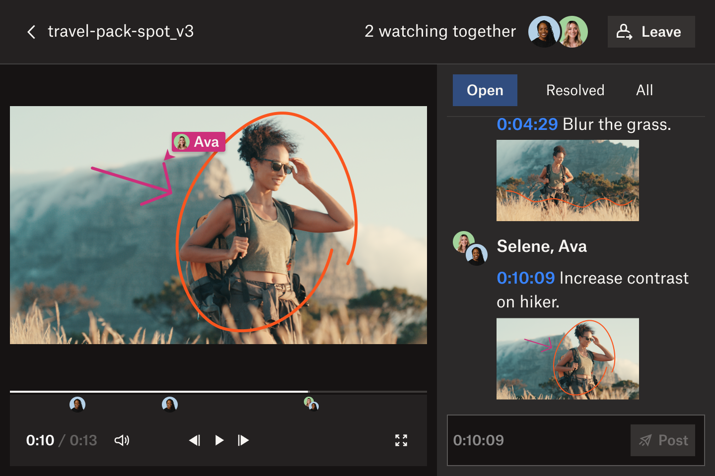 A user circling an image in a video frame