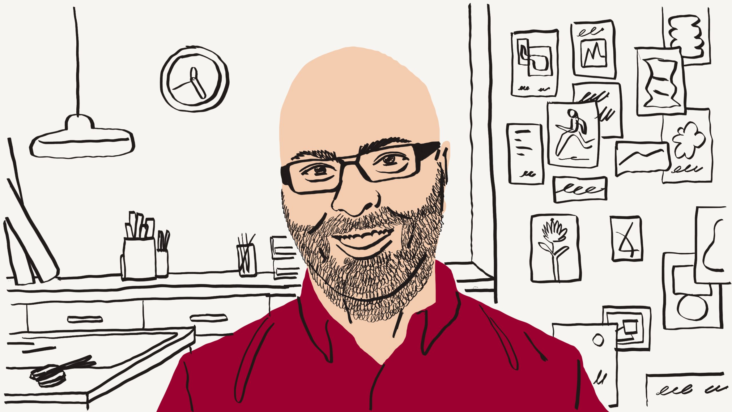 Illustration of a person with glasses wearing a red shirt in front of a desk
