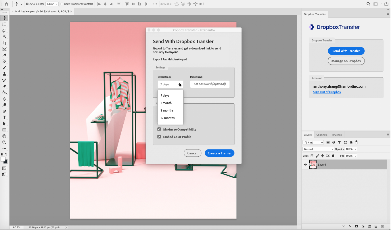 ​​Access Dropbox Transfer from within Adobe Photoshop to send rendered files or original source files