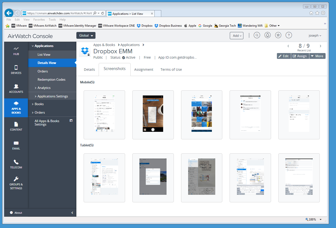 Dropbox EMM screenshots view