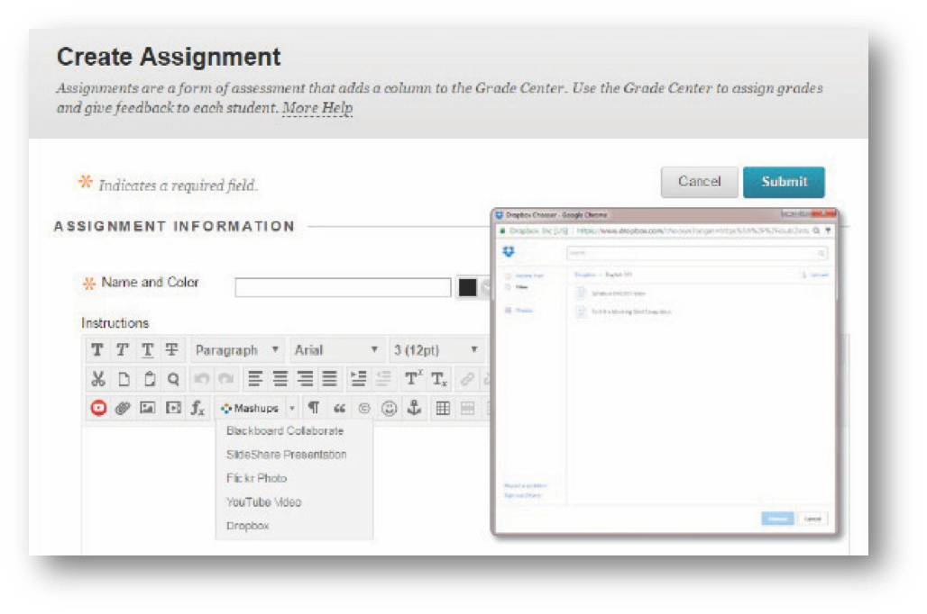 Blackboard – create assignment