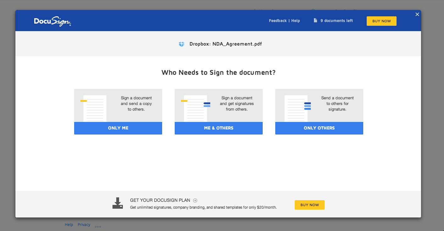 DocuSign – zrzut ekranu 1