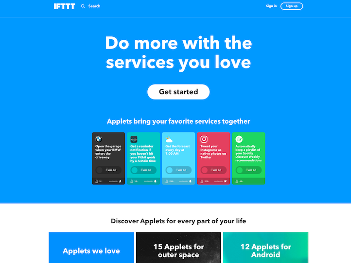 IFTTT marketplace screenshot