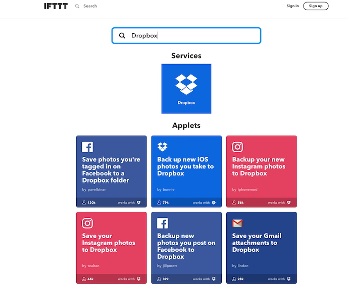 Captura de tela de busca no Dropbox do IFTTT