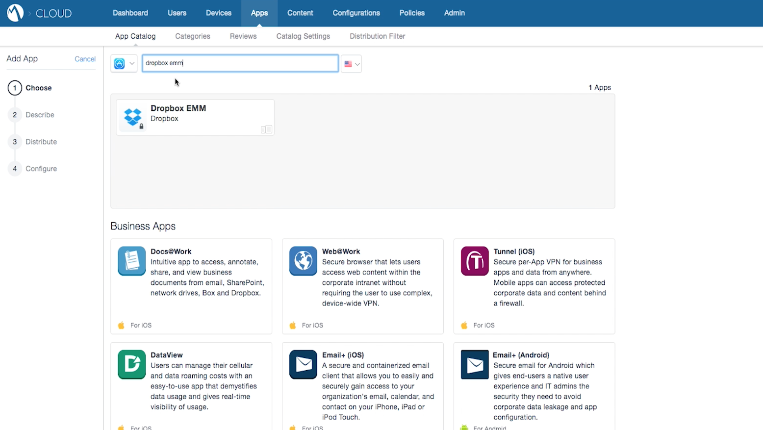 MobileIron の Dropbox EMM 選択画面