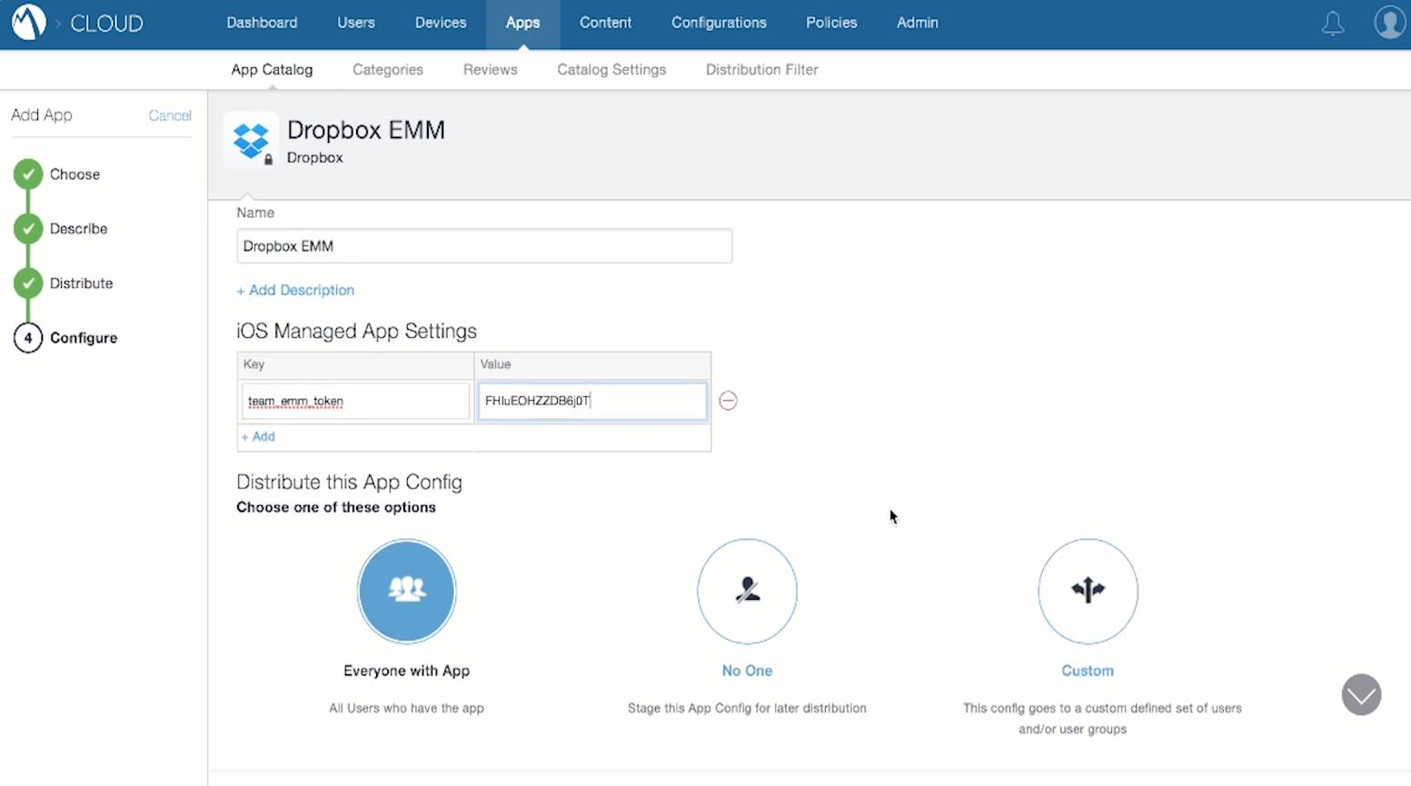 MobileIron configure Dropbox EMM