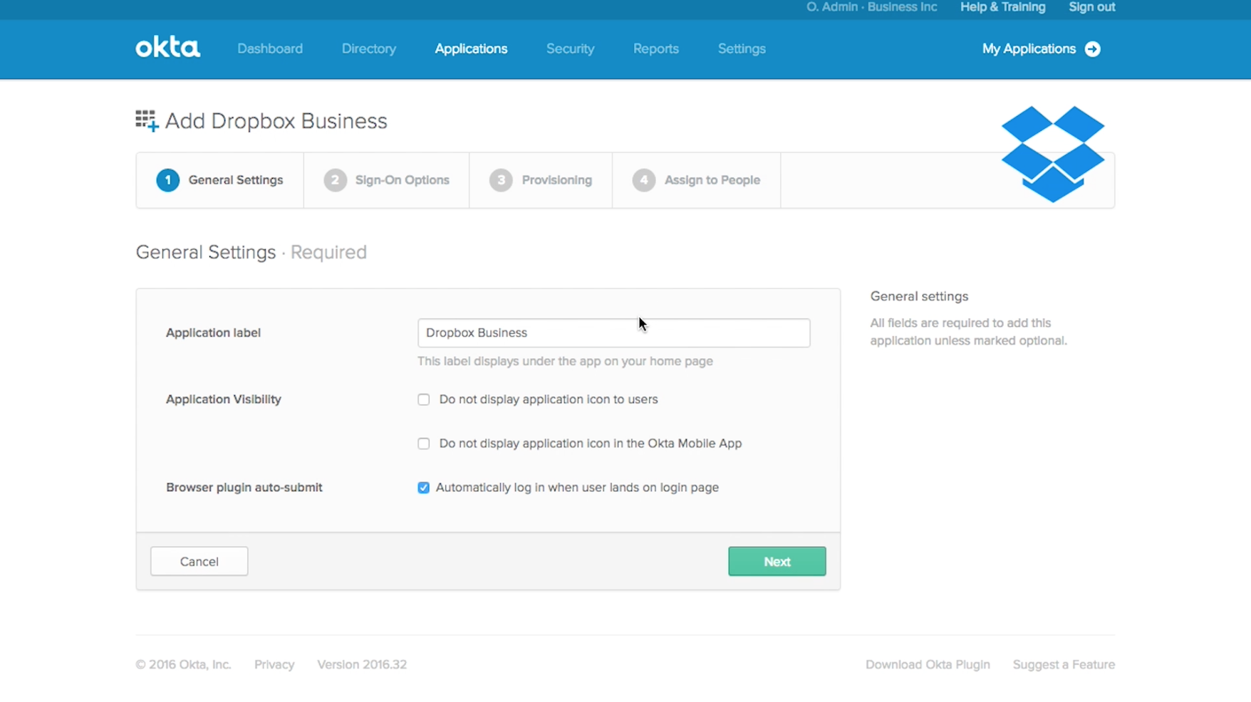 Dropbox Business-app selecteren in Okta